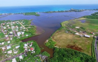 Aerial image of the McKinnon's watershed project site on Antigua's northwest coast after a heavy rainfall. Photo: Marlon Jeffers