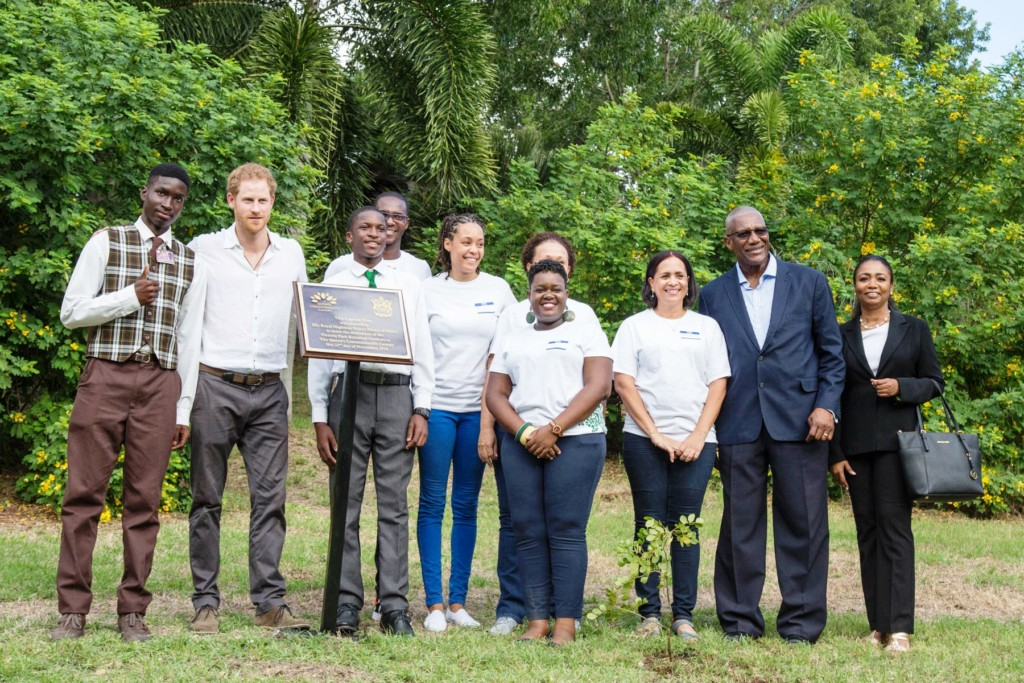 The Department of Environment team pictured with Prince Harry planting a tree, who visited Antigua and Barbuda in November 2016 to celebrate the island's 35th anniversary since independence. Photo: Justin Peters