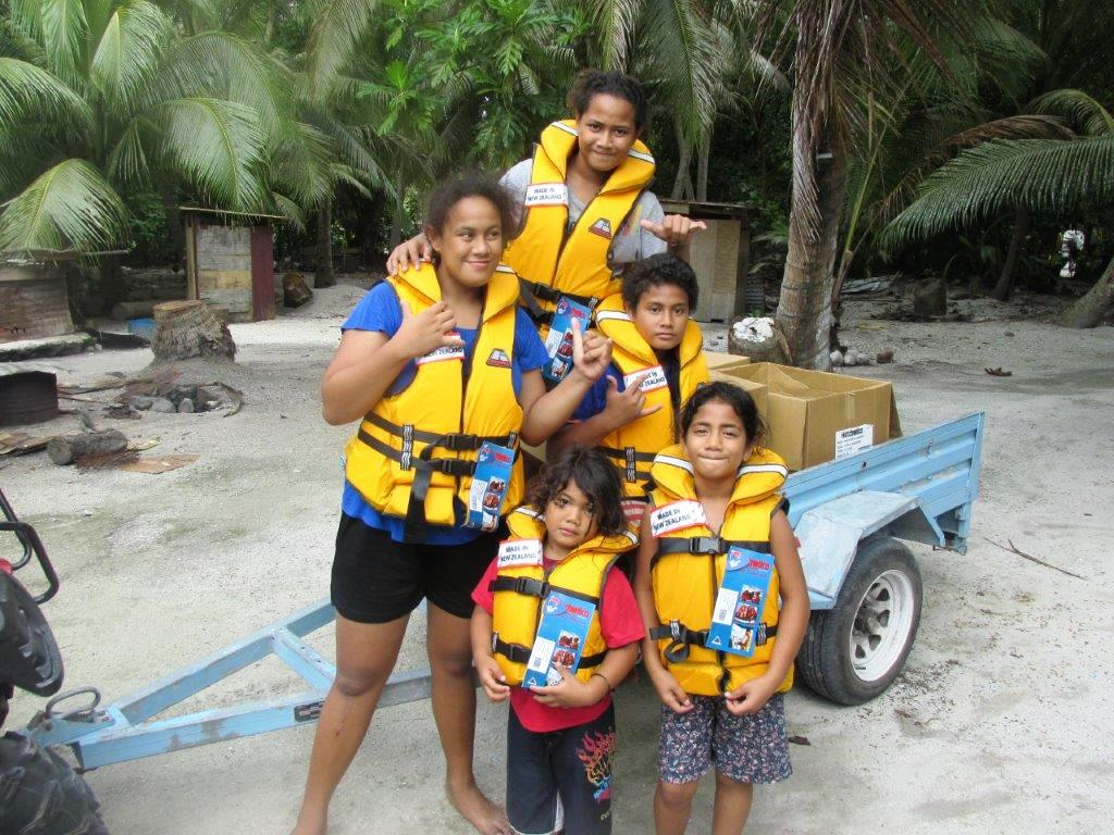 Distributing Life Jackets on Palmerston Island in November 2016.