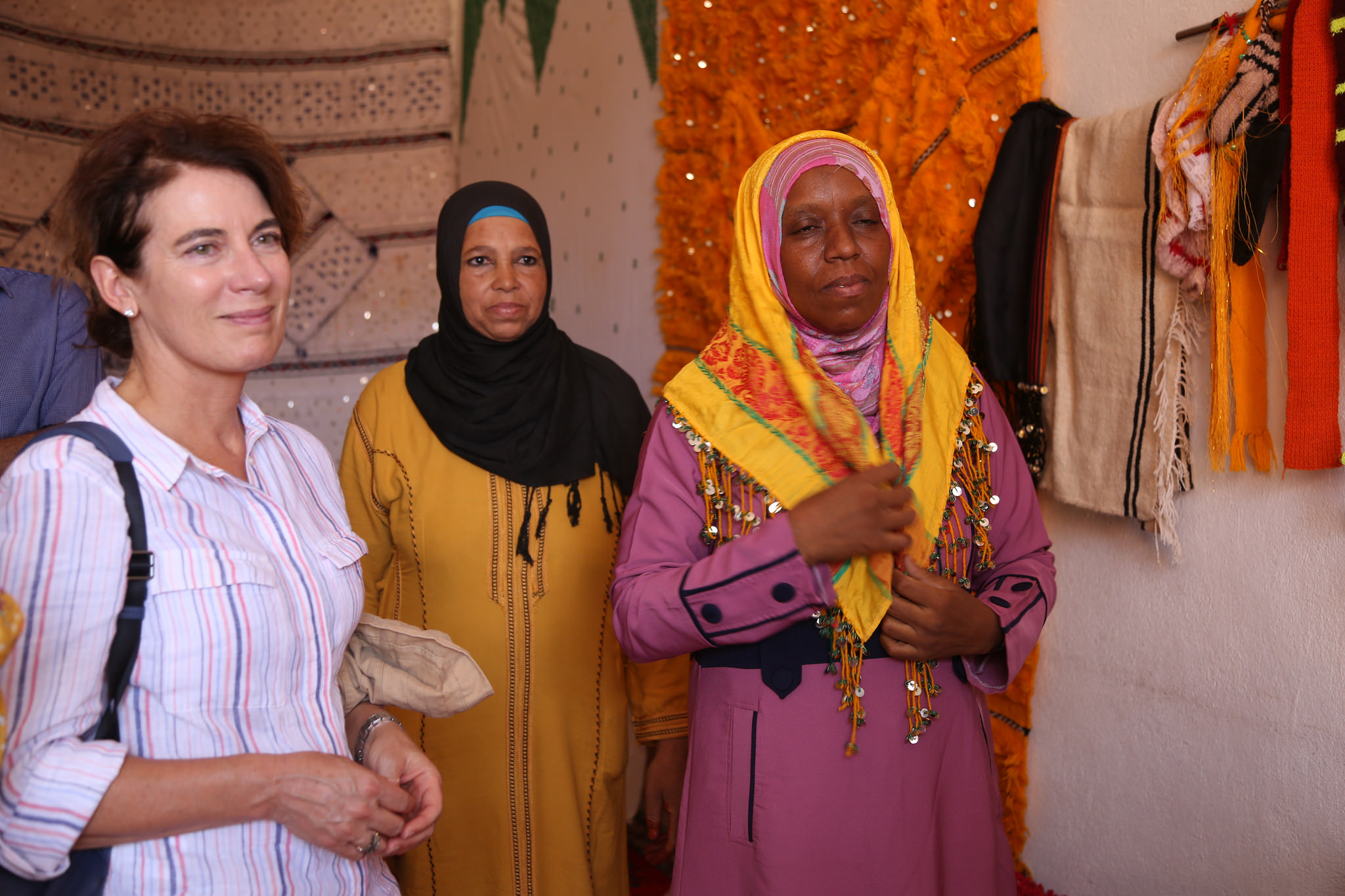 Then-Manager of the Adaptation Fund, Marcia Levaggi (pictured left) conducted a project field visit in Morocco with implementing entity Agence pour le Développement Agricole (ADA) and executing entity Agence Nationale pour le Development de Zones Oasiennes et de l'Arganier (ANDZOA).