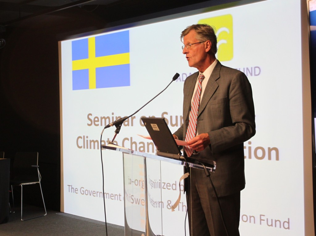 Then-Swedish Ambassador to the U.S., His Excellency Jonas Hafström, speaking at a May 22, 2013 seminar organized by the Adaptation Fund at the House of Sweden in Washington, D.C., which is also the site of the Swedish embassy. The seminar focused on supporting climate change adaptation.