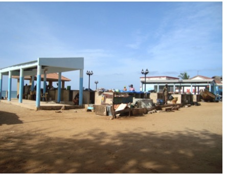 Fish processing area of Saly, which was almost completely destroyed by coastal erosion and storm surges and rehabilitated by the project. Photo: CSE